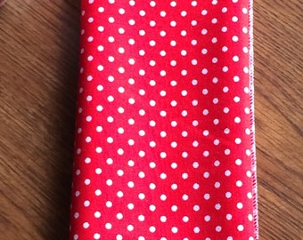 Red with White Dots Cloth Napkins, Set of 10 or 12