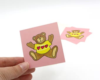 Set of 3 Vintage Valentine's Mini Cards - Valentine's Day Card with Teddy Bear Wearing Sweater - Valentine's Cards for Kids
