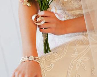 Bridal bracelet, cuff, swarovski  pearl and crystal, triple strand, vintage Art Deco, custom colours cream,  brides, bridal jewelry,
