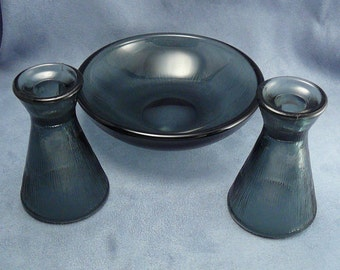 Mid-Century Hadeland Smoke Colored Glass Bowl & Candle Holders / Vases Willy Johansson Fersken