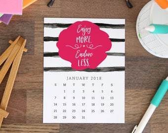 Printable 2018 Desk Calendar - 12 month Inspirational and Motivational Quote Designs - Instant Download