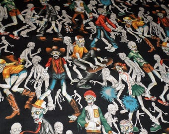 Zombie High, Zombie Fabric, Alexander Henry Halloween Fabric, Cotton fabric by the yard