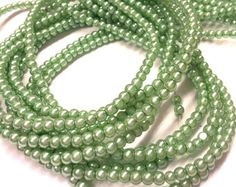Set of 30 - seagreen - Pearl - effect glass beads 3 mm T3
