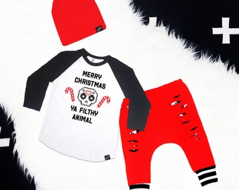 Christmas Baby Boy Outfit Set, Baby Boy Clothes, Baby Boy Leggings, Baby Slouch Beanie, Baby Boy Shower Gift, Baby Harem Pants, Baby Outfit