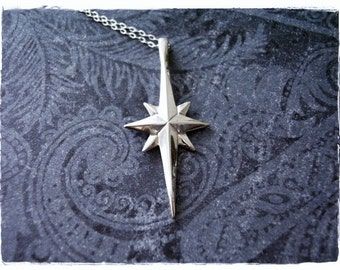 Silver Star of Bethlehem Necklace - Sterling Silver Star of Bethlehem Charm on a Delicate Sterling Silver Cable Chain or Charm Only