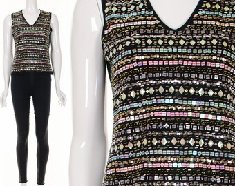 90's Iridescent TRIBAL Sequin Sleeveless Tank Top Clubkid Pastel Goth Knit Top Small