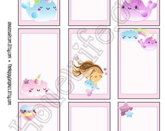 Narwhal 1, Happy Planner stickers [293] , Full box, A5 PDF, Instant download