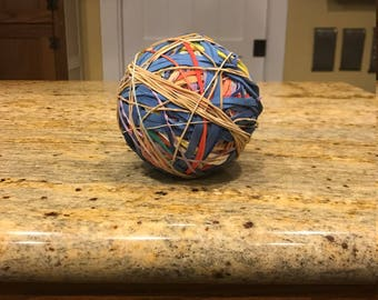 Rubber Band Ball Sculptural Art Homemade