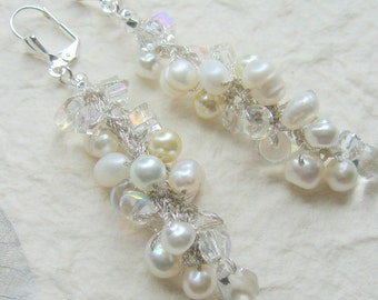 Fresh Water Pearl with  Crystal Long Hanging Dangle Cascading  Bridal Wedding  Earrings - Hand Knit Spiral Cluster