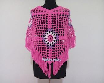 Poncho pink, hot pink poncho crochet, fuchsia lacy poncho, poncho teens, girls accessories, crochet poncho, handmade poncho, youthful poncho