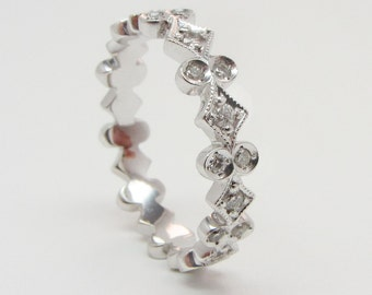 18K White Gold Stackable Diamond Ring
