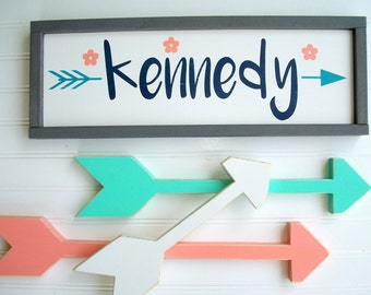 Woodland Nursery Name Sign Set .Baby  Girl . Name Sign and Arrow Set . Set of Arrows. Tribal Nursery . Rustic Nursery . Coral Mint