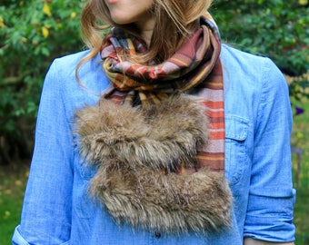 Fur-Tipped Plaid Scarf -  Fleece-lined - Faux Fur - 2 COLORS AVAILABLE!