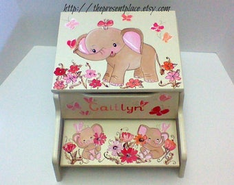 two step step stool,elephant bench,elephants,flowers,butterflies,coral pink,storage step stool,children's step stool,kids,baby,girl's bench