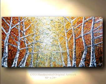 Canvas Art Painting Aspen Tree Colorado Birch Abstract Texture wall decor Artwork Fine art by OTO