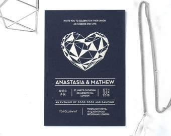 Modern Heart Wedding Stationery, Foil Stamping & Navy - IWF16118-GB-MS