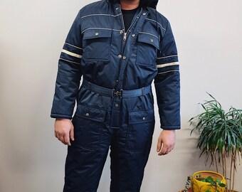 70s Vintage Sears Snow Suit, Ski Onesie, Outdoor Snowboard Blue Onesie