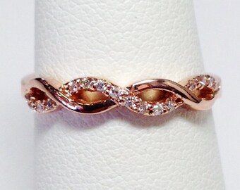 0.20CT Diamond Crisscross Band Infinity Style Wedding Bands Anniversary Ring Stackable Rings Platinum 18K 14K White Yellow Rose Gold