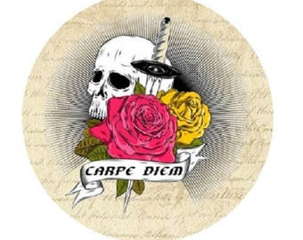 "pretty cabochon ""carpe diem"" skull, 25mm"