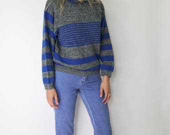 Vintage 1980s Striped Sweater | Collar Sweatshirt | Striped Sweatshirt | Acrylic Sweater | Pullover
