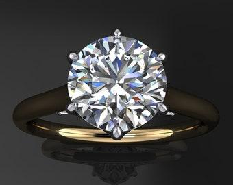 darby ring - 1.5 carat round NEO moissanite engagement ring, diamond bridge