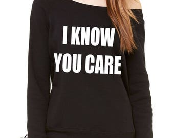 I Know You Care Slouchy Off Shoulder Oversized Sweatshirt