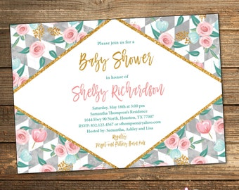 Baby Shower Invitation, Girl Baby Shower Invitation, Spring Baby Shower, Pink and Teal Blue, Baby Shower Invitations (PRINTABLE FILE)