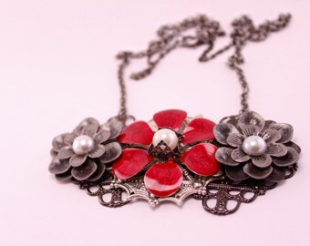 Silver and Red Three Flower Brooch Statement Necklace Pendant on 18 Inch Chain