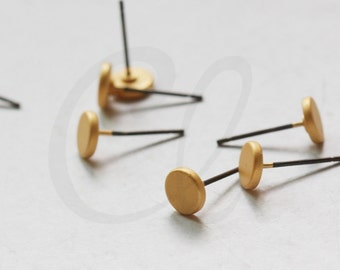 2 Pieces (One Pair) Premium Matte Gold Plated Brass Base Earring Post - Flat Round 6mm (3135C-I-515)
