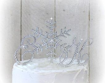 Snowflake Winter Wedding Cake Topper Winter Wonderland Cake