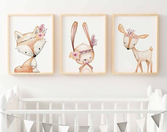 Woodland Nursery Prints | Forest Animal Wall Art | Floral Woodland Nursery Decor |  Nursery Print Set | Girls Woodland  Bunny, Fox, Deer