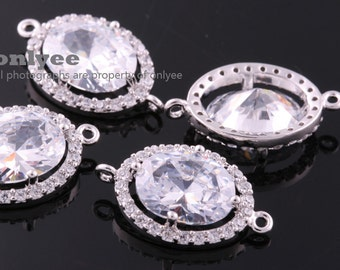 2pcs-18.5mmX11.5mmBright Rhodium plated (clear)LUX Cubic zirconia Oval Round Connectors(K1084S)