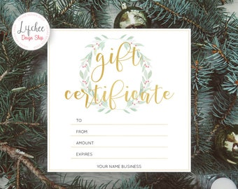 Printable rose gold camera gift certificate template printable christmas watercolor wreath gold foil gift certificate template editable gift card photoshop template psd yadclub Choice Image