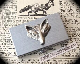 Silver Fox Pill Box Small Size Silvertone Metal Pill Case Steampunk Pillbox Fox Head Woodland Animal Pillbox Stocking Stuffer