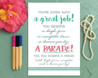Great job card etsy encouragement card youre doing a great job you deserve a parade greeting card stopboris Choice Image