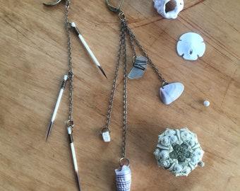Shoulder Duster Earrings, Quills, Fish Vertebrae, Shell, Sea Glass