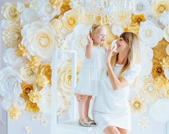 Wedding Photo Wall  - Paper Flower Photo Wall - Paper Flower Backdrop - Paper Flowers