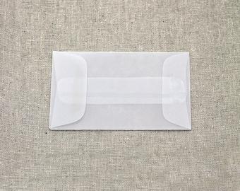 25 Mini Translucent / Vellum Envelopes - Seed Envelopes - White Envelopes - 2.25 x 3.75 inches