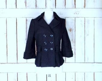 Vintage 90s black wool blend short double breasted blazer jacket/short black wool coat