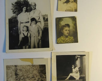 Lot of 5 vintage photographs, 1940s. Girls, Girls, Girls! Instant ancestor lot great for collage, collections, display, crafts.