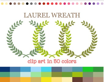 50 Colors Digital LAUREL WREATH Clipart Leaf wreath SVG Laurel wreaths clipart Digital download Leaf circle monogram frame Wreath png #C045
