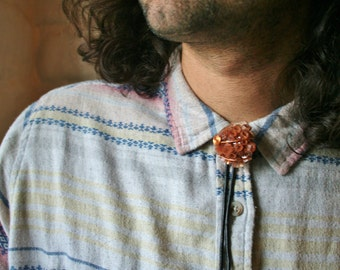Argonit Crystal Bolo Tie with either Genuine or Faux Leather Cord