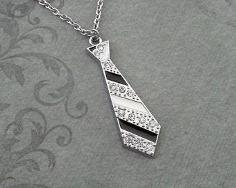 Necktie Necklace Tie Necklace Rhinestone Necklace Rhinestone Jewelry Striped Black Tie Gift Silver Pendant Necklace Bridesmaid Necklace