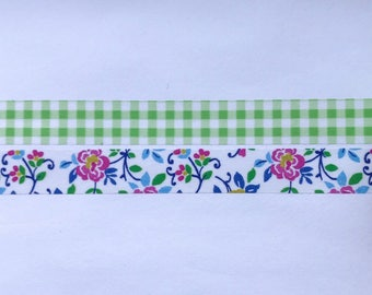 "Green Grid and Floral Washi Tape 24"" Sample Set - Bobbins"