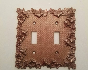 Rose Gold Vintage Double Switchplate. Remixed and Upcycled.