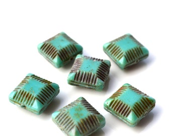 Turquoise Czech Glass 14mm Etched Square Beads   6
