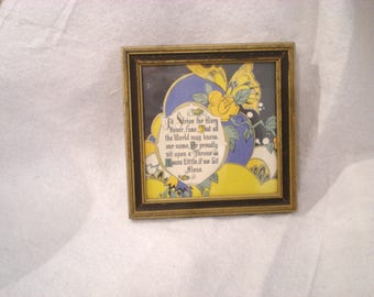 Magical Antique Framed Verse Picture Maxfield Parrish ESK Butterfly Flowers Beautiful Blue Yellow Gold Condition Cautionary Tale Unique