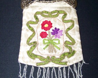 Pretty Handmade Ribbon-work Bag