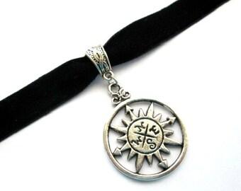 Compass choker, black choker, black velvet choker, antiqued silver compass charm jewelry, velvet ribbon choker, crown necklace