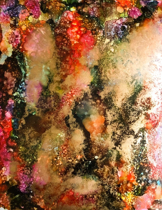 """Original Alcohol Ink Abstract Painting: """"Carefree"""" (11"""" X 14"""")"""